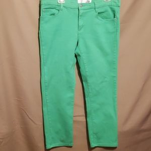 JOE FRESH SLIM GREEN 99% COTTON CROP JEANS SZ 12